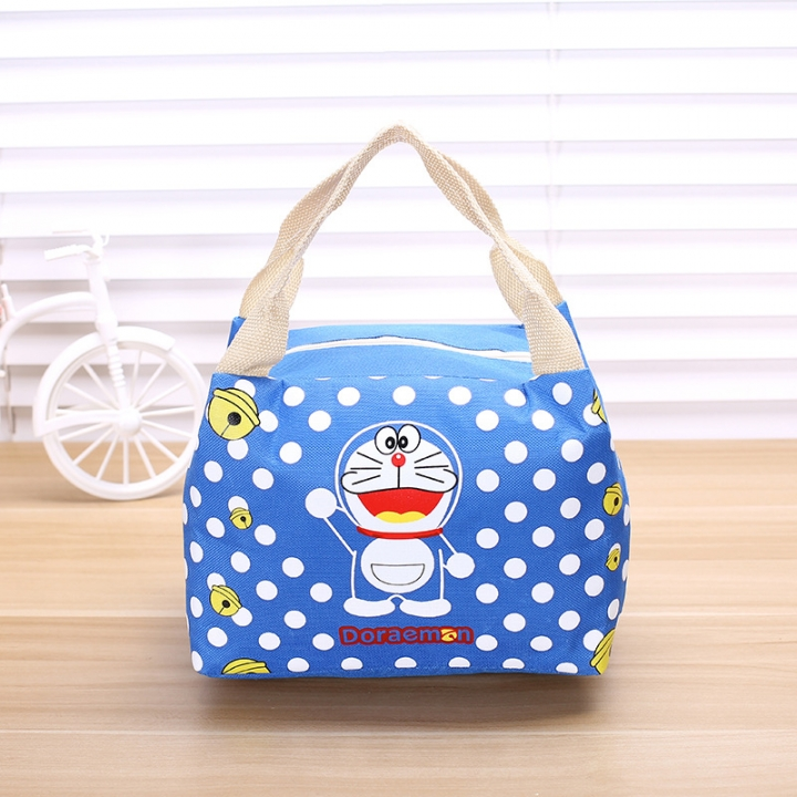 Lovely Cartoon Convenient Insulated Bag Waterproof Oxford Cloth Lunch Bag Zipper Lunch Box Bag blue one size
