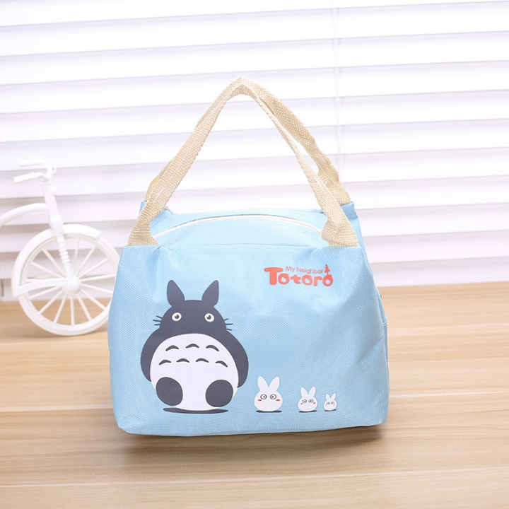 Lovely Cartoon Convenient Insulated Bag Waterproof Oxford Cloth Lunch Bag Zipper Lunch Box Bag ligth blue one size