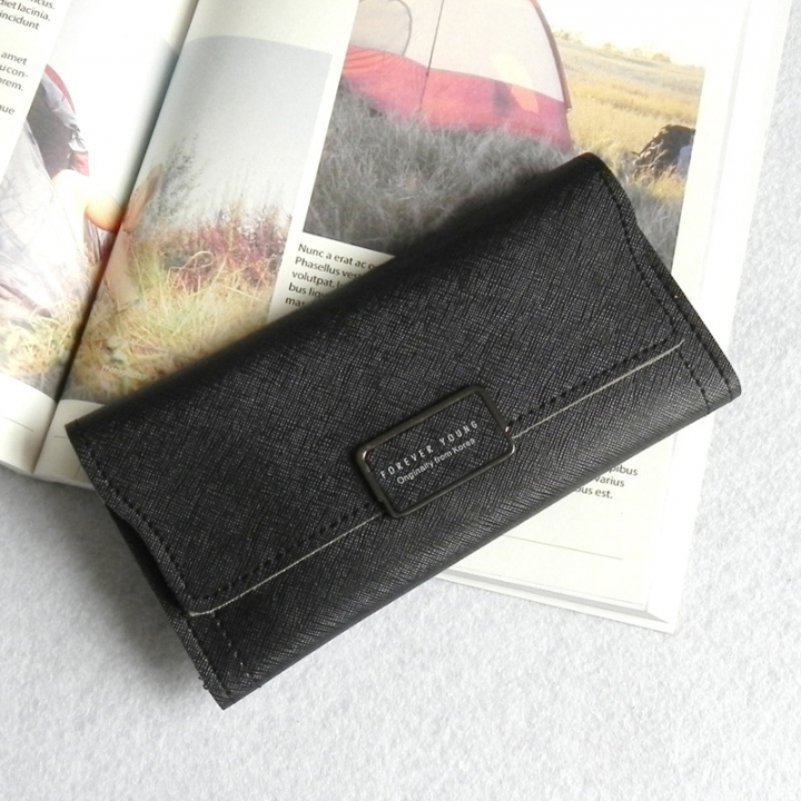 The New Ms Wallet Simple Fashion High Capacity Multi-card Bit Buckle Wallet Wallet Bag black one size