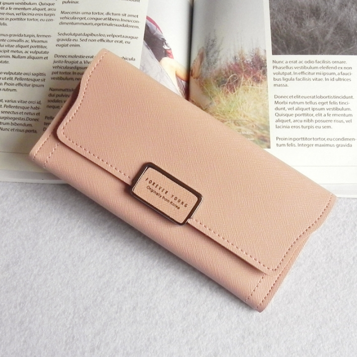 The New Ms Wallet Simple Fashion High Capacity Multi-card Bit Buckle Wallet Wallet Bag pink one size