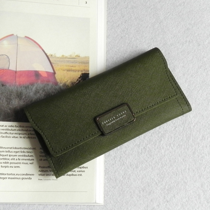 The New Ms Wallet Simple Fashion High Capacity Multi-card Bit Buckle Wallet Wallet Bag green one size