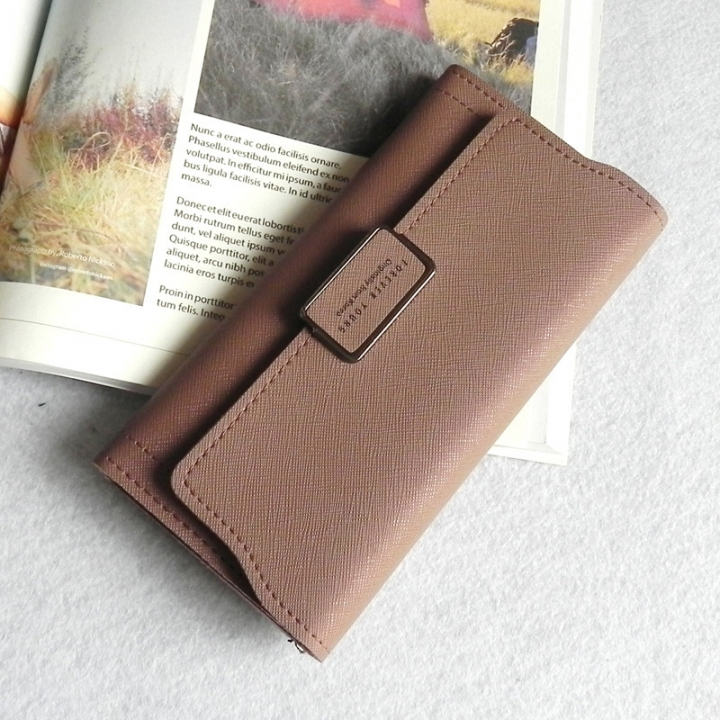 The New Ms Wallet Simple Fashion High Capacity Multi-card Bit Buckle Wallet Wallet Bag purple one size
