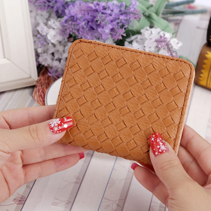 Ms Lovely Coin Purse Vertical Section Multi-card Bit Thin Section Short Section Weave Pattern Wallet khaki one size