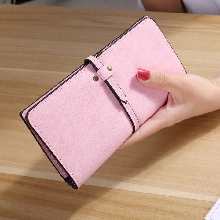 The New Ms Wallet Long Section Card Pack Scrub Female Wallet Fashion Student Wallet pink one size