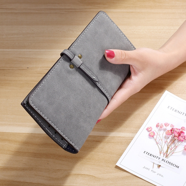 The New Ms Wallet Long Section Card Pack Scrub Female Wallet Fashion Student Wallet gray one size
