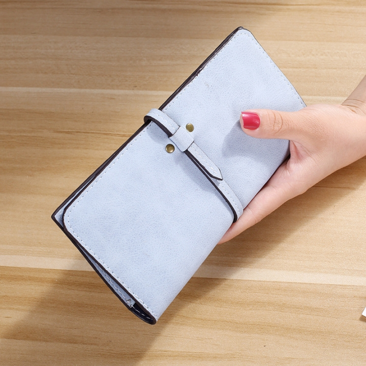 The New Ms Wallet Long Section Card Pack Scrub Female Wallet Fashion Student Wallet ligth blue one size