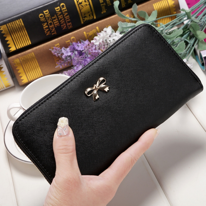 Ms Wallet Long Ssection Hand Bag Fashion Coin Purse Zipper key Card Pack black one size