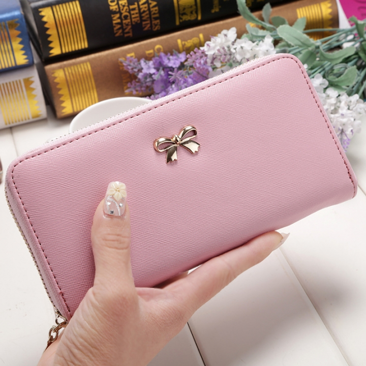 Ms Wallet Long Ssection Hand Bag Fashion Coin Purse Zipper key Card Pack pink one size