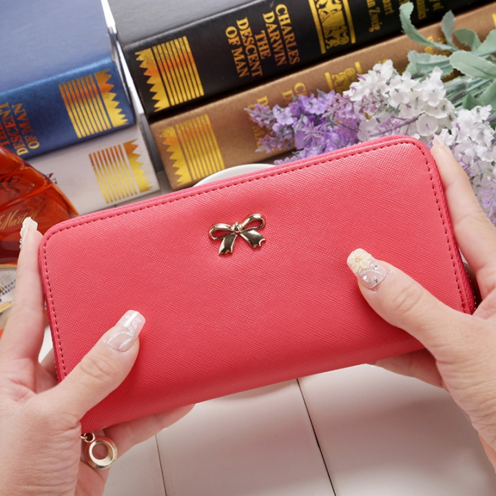 Ms Wallet Long Ssection Hand Bag Fashion Coin Purse Zipper key Card Pack watermelon red one size