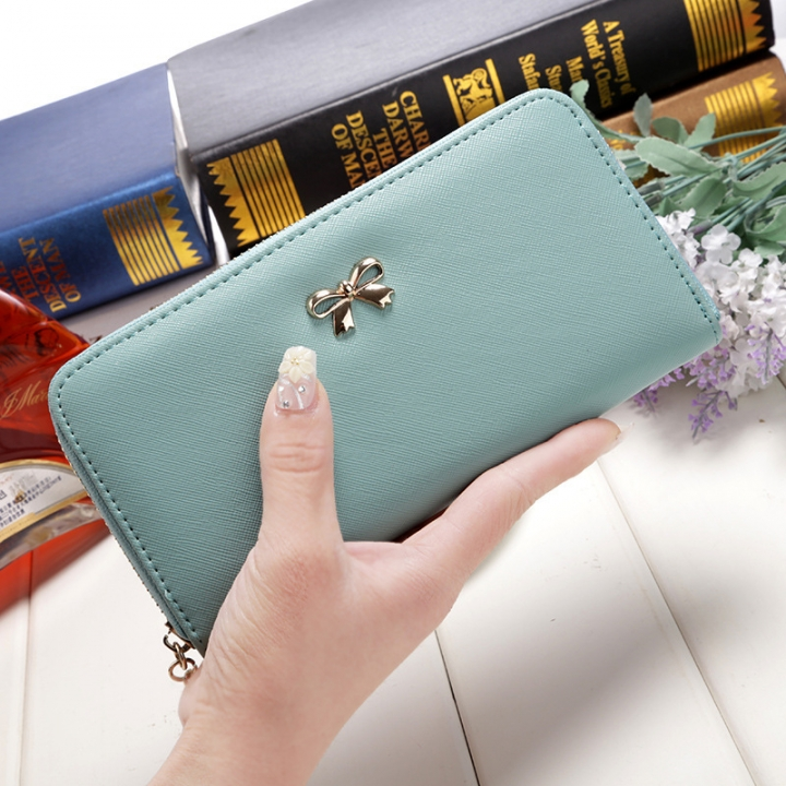 Ms Wallet Long Ssection Hand Bag Fashion Coin Purse Zipper key Card Pack green one size