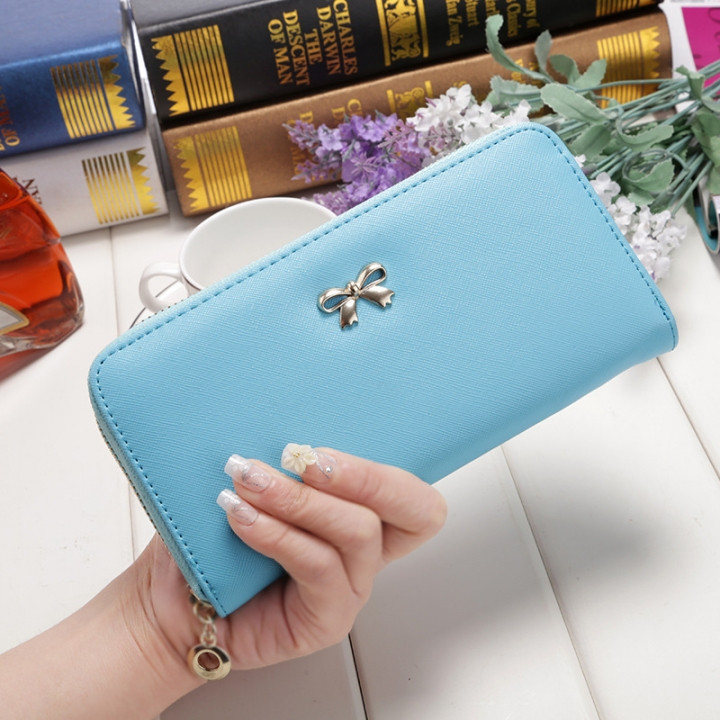 Ms Wallet Long Ssection Hand Bag Fashion Coin Purse Zipper key Card Pack sky blue one size