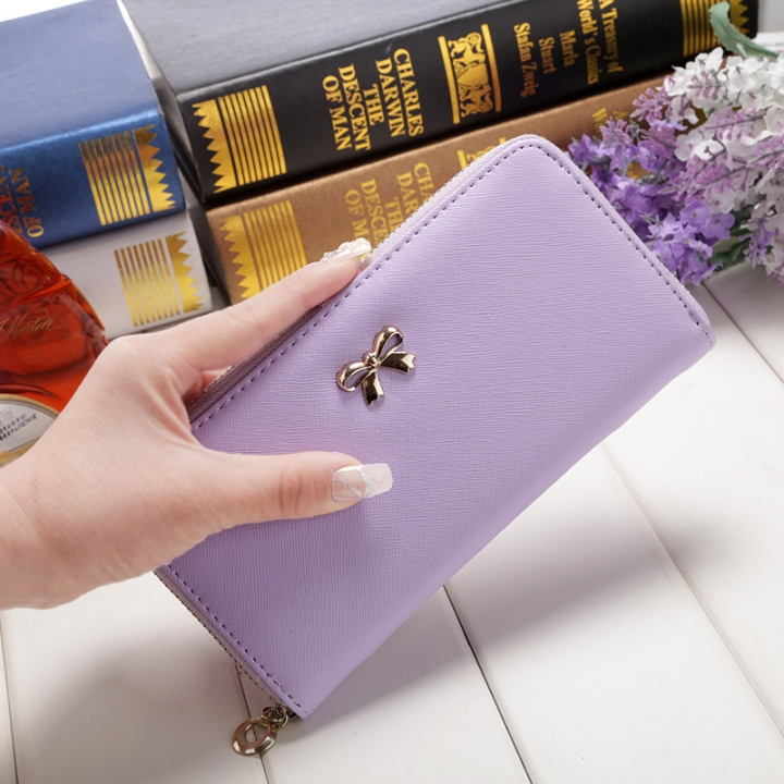 Ms Wallet Long Ssection Hand Bag Fashion Coin Purse Zipper key Card Pack purple one size