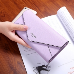 The New Wallet Ms Long Section Fashion Simple Cross Pattern Buckle Female Wallet Hand Bag purple one size