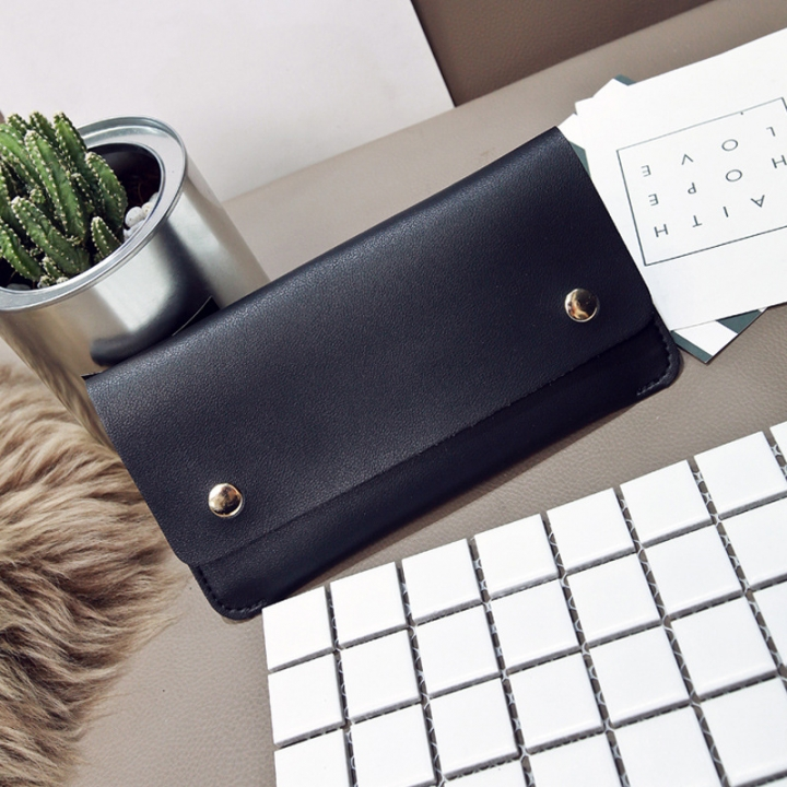 Ms Thin Section Wallet PU Leather Solid Color Magnetic Buckle Ms Long Section Wallet Card Pack black one size