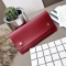 Ms Thin Section Wallet PU Leather Solid Color Magnetic Buckle Ms Long Section Wallet Card Pack red one size