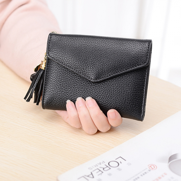 Short Section Wallet Female Lovely Student Buckle Small Fresh Tassel Wallet Coin Purse Small Wallet black one size