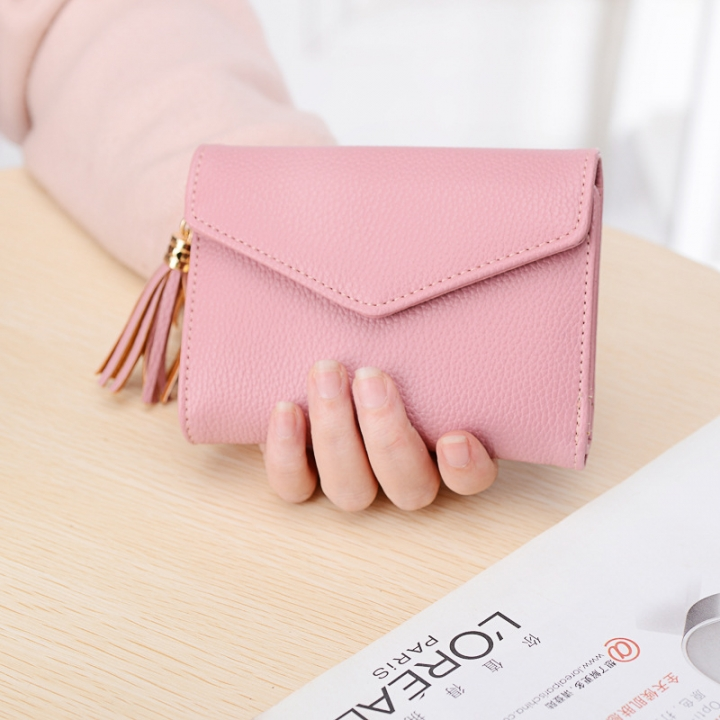 Short Section Wallet Female Lovely Student Buckle Small Fresh Tassel Wallet Coin Purse Small Wallet pink one size