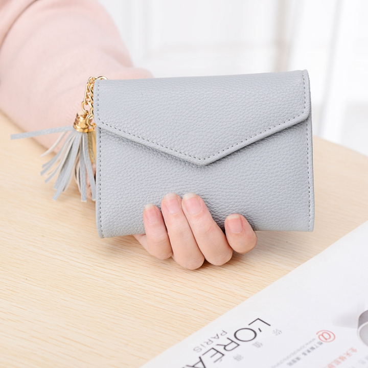 Short Section Wallet Female Lovely Student Buckle Small Fresh Tassel Wallet Coin Purse Small Wallet gray one size