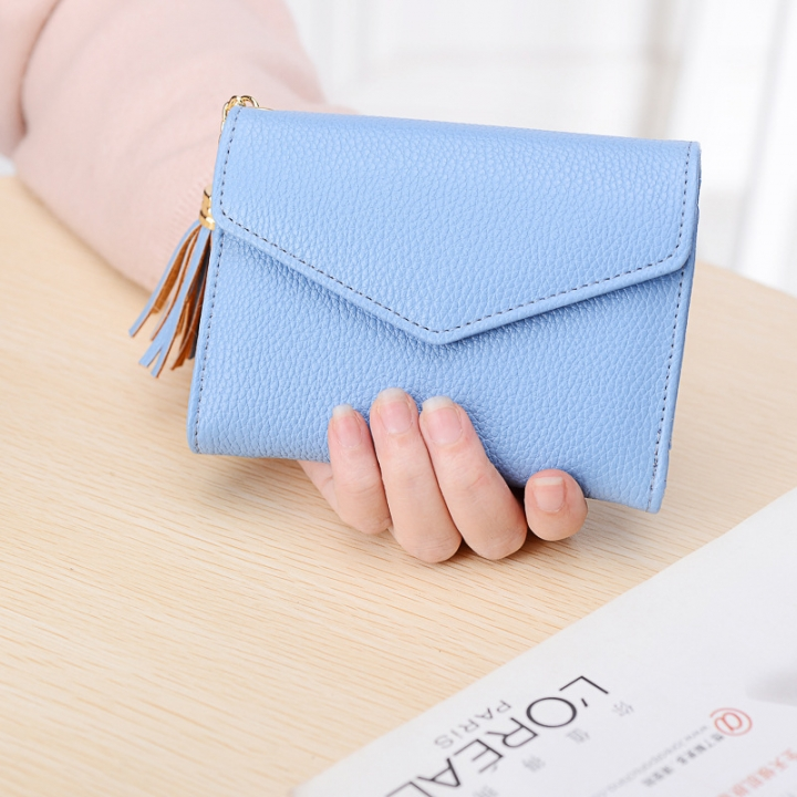 Short Section Wallet Female Lovely Student Buckle Small Fresh Tassel Wallet Coin Purse Small Wallet blue one size