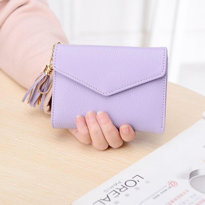 Short Section Wallet Female Lovely Student Buckle Small Fresh Tassel Wallet Coin Purse Small Wallet purple one size