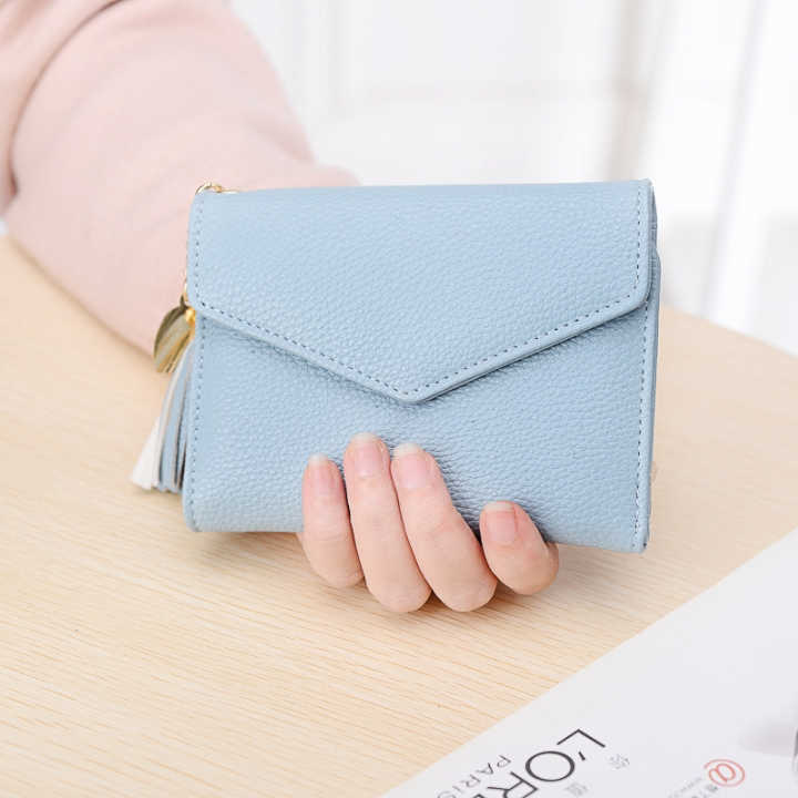 Short Section Wallet Female Lovely Student Buckle Small Fresh Tassel Wallet Coin Purse Small Wallet ligth green one size