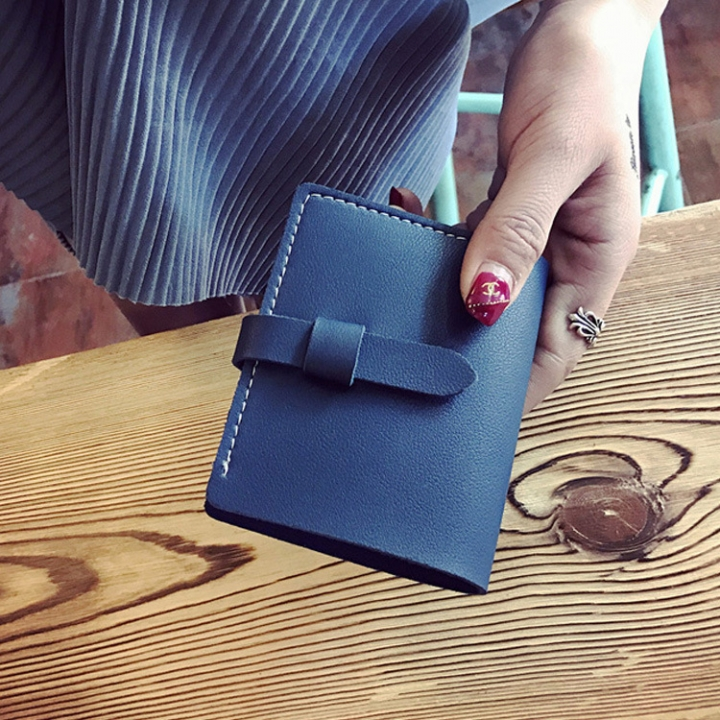 The New Ms Wallet Fashion Simple Multi-card Bit Student Female Wallet Card Pack Coin Purse blue one size