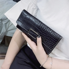 The New Western Style Retro Stone Pattern Fashion Three Fold Mini Buckle Wallet Coin Purse black Long section