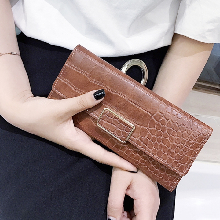 The New Western Style Retro Stone Pattern Fashion Three Fold Mini Buckle Wallet Coin Purse brown Short section