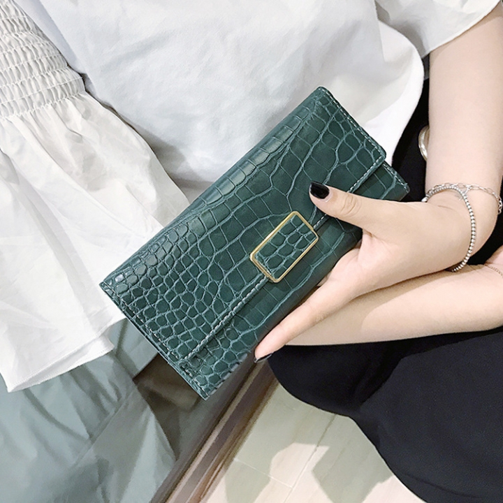 The New Western Style Retro Stone Pattern Fashion Three Fold Mini Buckle Wallet Coin Purse green Short section