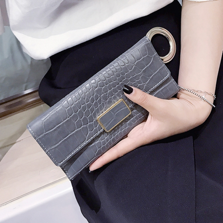 The New Western Style Retro Stone Pattern Fashion Three Fold Mini Buckle Wallet Coin Purse gray Long section