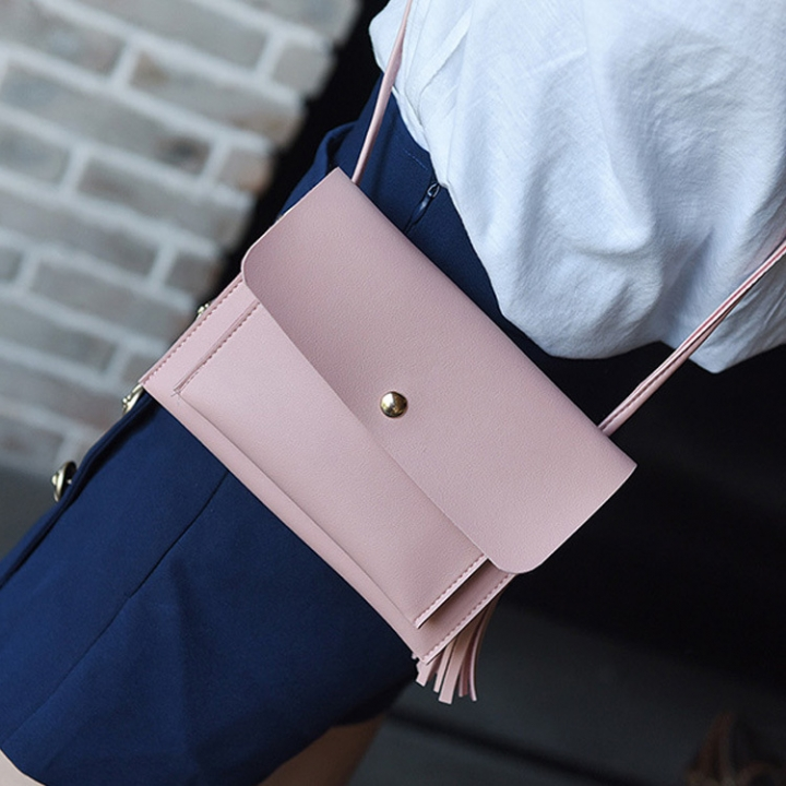 The New Lady Bags Trend Shoulder Bags Tassel Messenger Bag Leisure Mini Packet pink one size