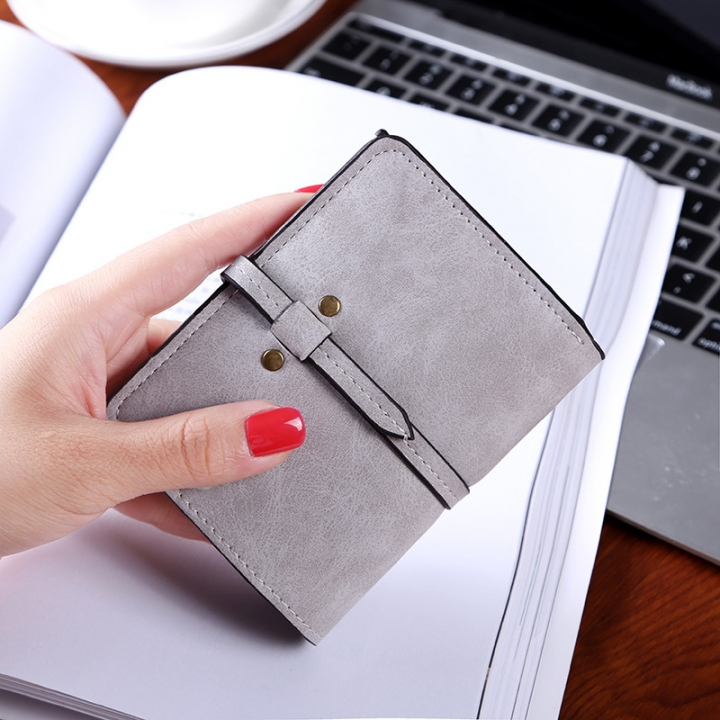 Ms Wallet Short Section Student Scrub Pumping Belt Female Leisure Wallet gray one size