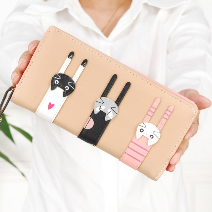 Ms Hand Bag Fashion Lovely Cartoon Three Cats zipper Student Wallet Coin Purse apricot one size