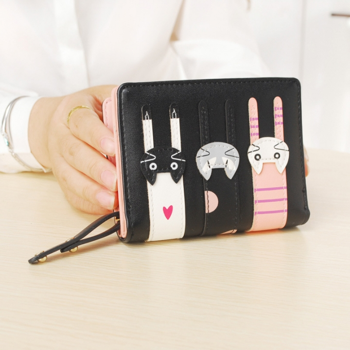 Ms Short Section Wallet Lovely Cartoon Three Cats zipper Leisure Coin Purse Wallet black one size