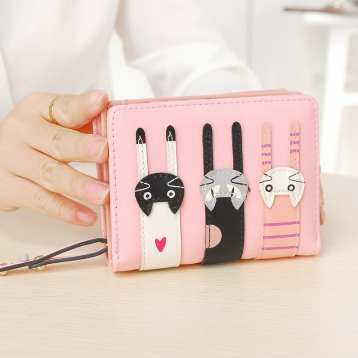 Ms Short Section Wallet Lovely Cartoon Three Cats zipper Leisure Coin Purse Wallet pink one size