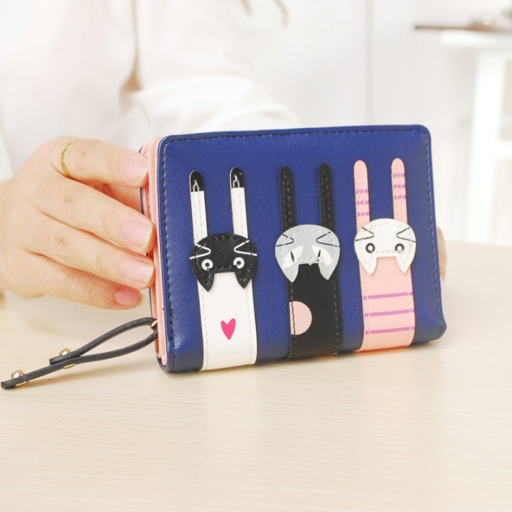 Ms Short Section Wallet Lovely Cartoon Three Cats zipper Leisure Coin Purse Wallet blue one size