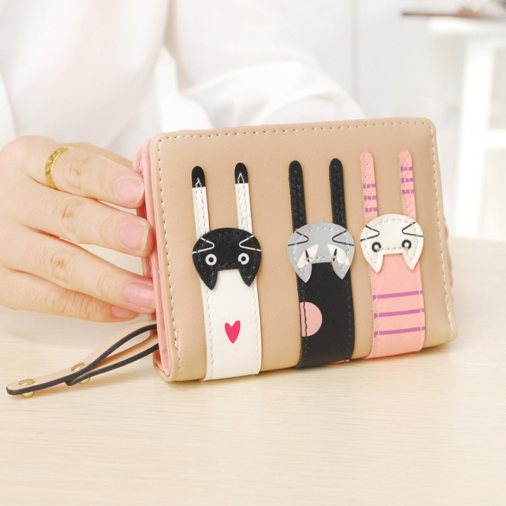 Ms Short Section Wallet Lovely Cartoon Three Cats zipper Leisure Coin Purse Wallet brown one size