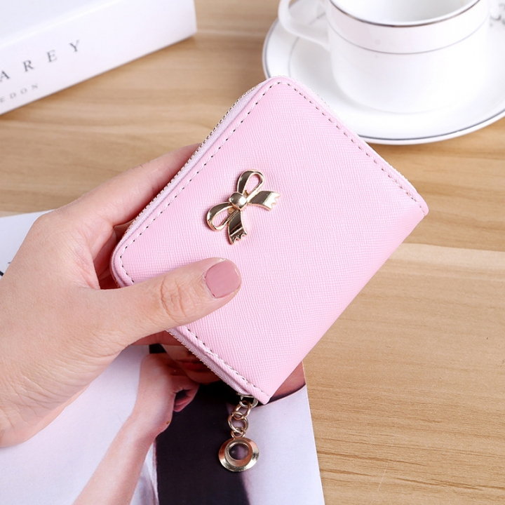The New lovely Fresh Small wallet Bow tie zipper Coin Purse Female student Wild Hand bag pink one size