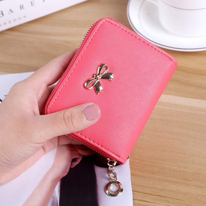 The New lovely Fresh Small wallet Bow tie zipper Coin Purse Female student Wild Hand bag watermelon red one size