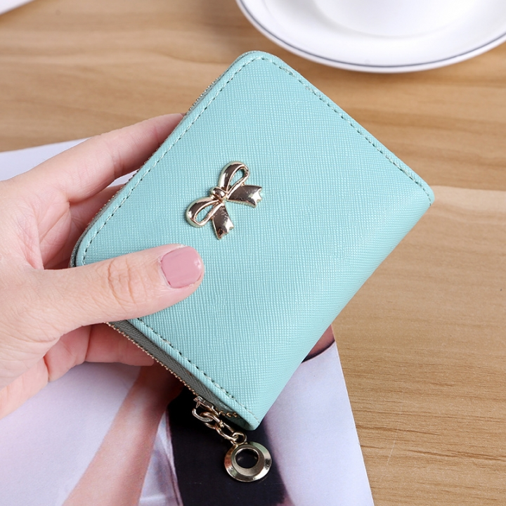 The New lovely Fresh Small wallet Bow tie zipper Coin Purse Female student Wild Hand bag ligth green one size
