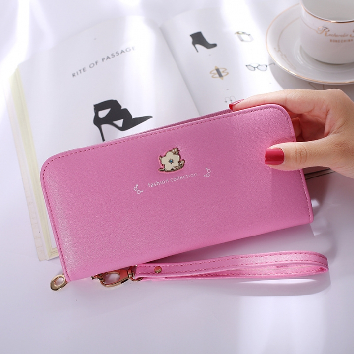 Ms Wallet Long Section Zipper Female Hand Bag High Capacity Wallet Litchi Pattern Fashion Wallet pink one size