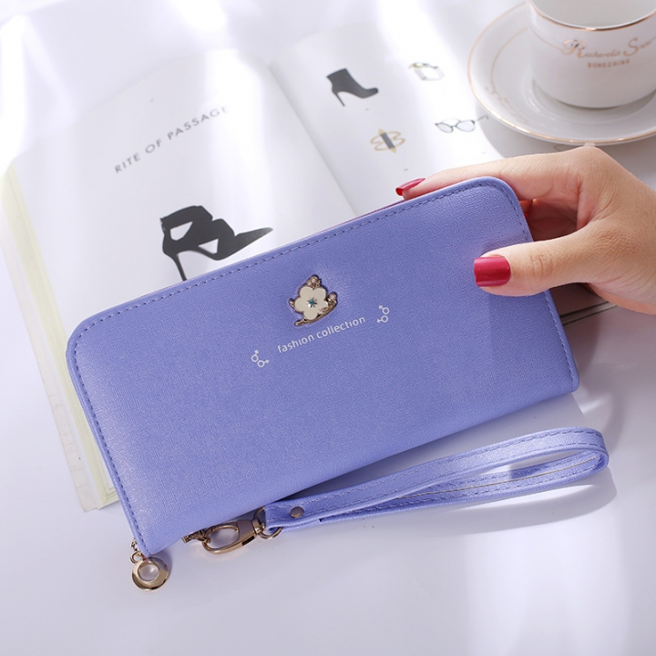 Ms Wallet Long Section Zipper Female Hand Bag High Capacity Wallet Litchi Pattern Fashion Wallet violet one size