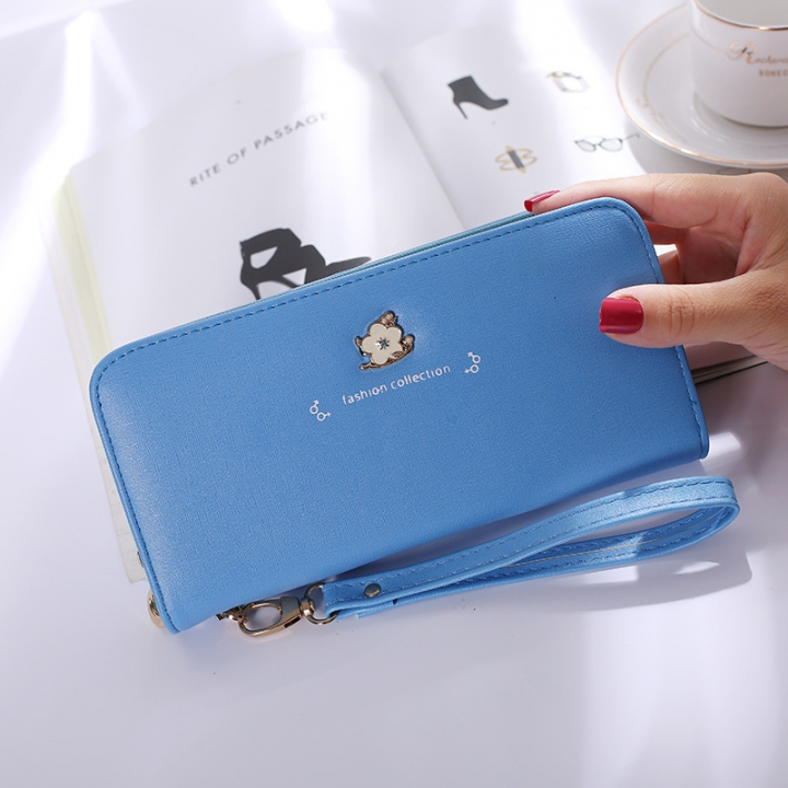 Ms Wallet Long Section Zipper Female Hand Bag High Capacity Wallet Litchi Pattern Fashion Wallet blue one size