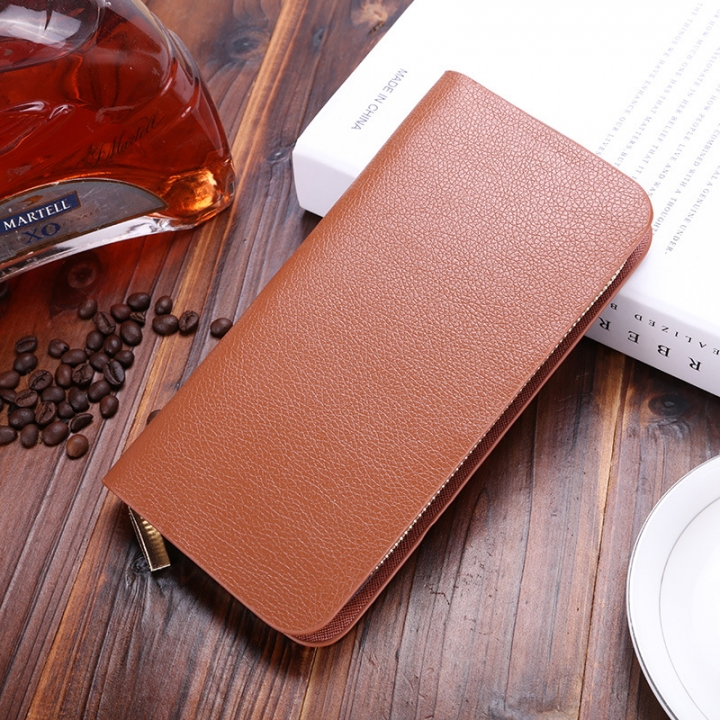 Western Style Men Long Section Wallet Zipper Fashion Hand Bag Business Leisure Male Wallet brown one size