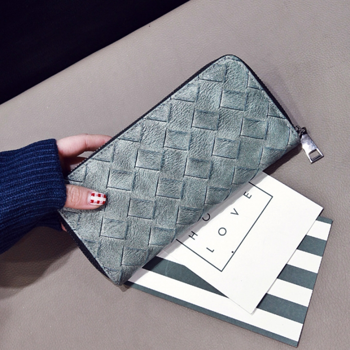 The New Long Section Ms Wallet Zipper Card Pack Hand Bag Female Fashion Coin Purse Bean green one size