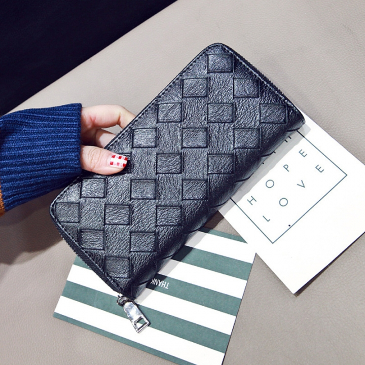 The New Long Section Ms Wallet Zipper Card Pack Hand Bag Female Fashion Coin Purse black one size
