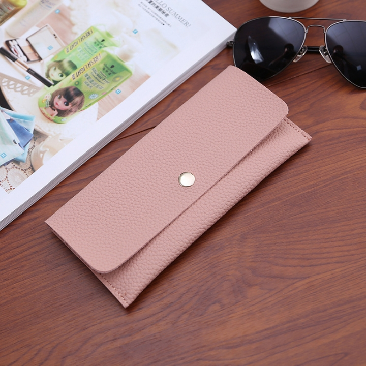 Ms Thin Section Wallet PU Leather Solid Color Simple Magnetic Buckle Ms Leisure Hand Bag pink one size