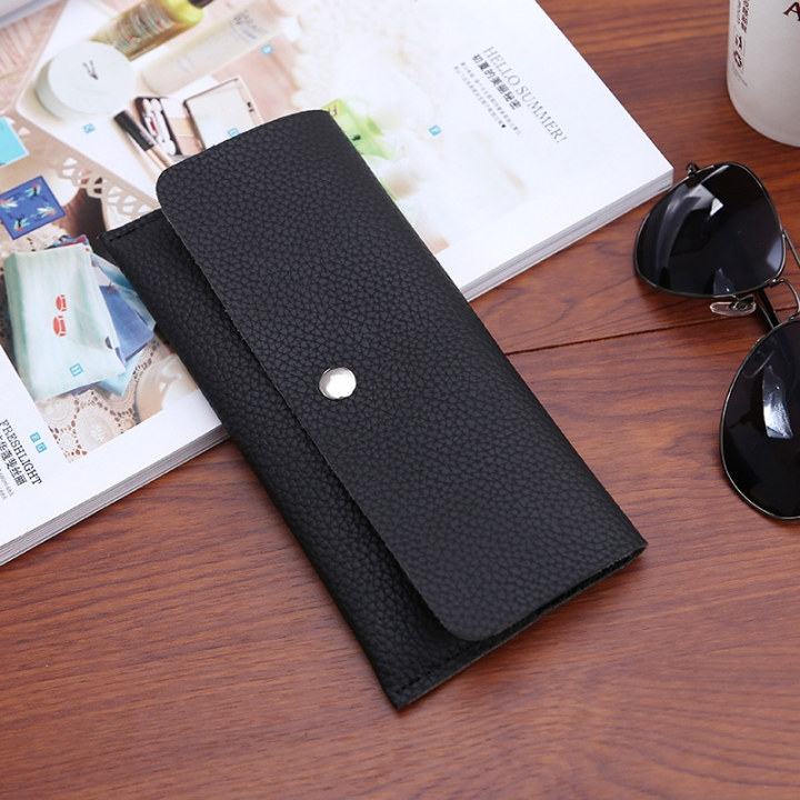 Ms Thin Section Wallet PU Leather Solid Color Simple Magnetic Buckle Ms Leisure Hand Bag black one size