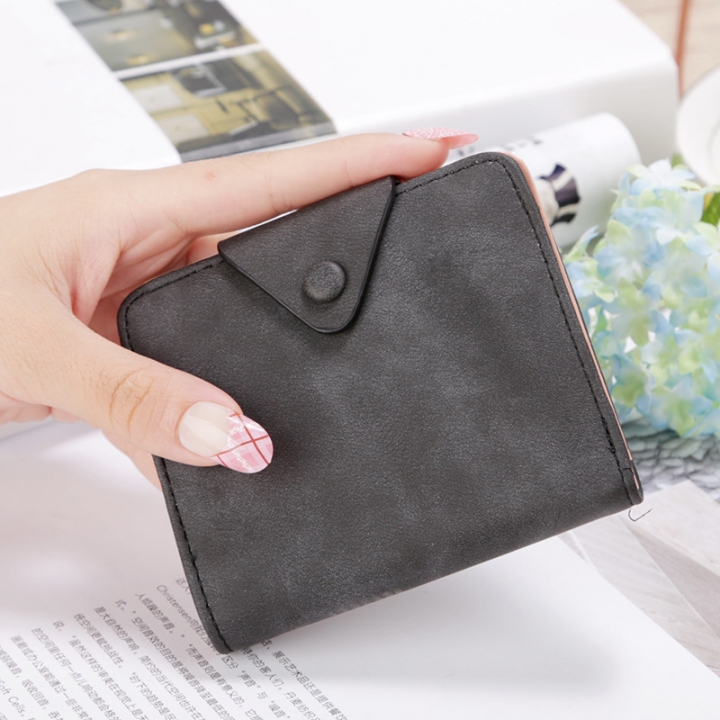 The New Wallet Short Section Scrub Buckle Female Coin Purse Two Fold Wallet Fashion Wallet black one size
