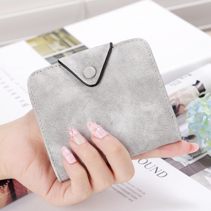 The New Wallet Short Section Scrub Buckle Female Coin Purse Two Fold Wallet Fashion Wallet gray one size